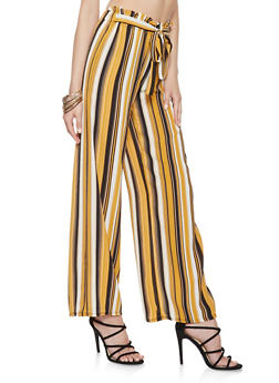Striped Tie Front Palazzo Pants - 3061074015878