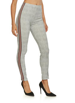 Striped Ribbon Trim Plaid Pants - 3061074015882