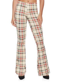 Plaid Soft Knit Flared Pants - 3061074015883