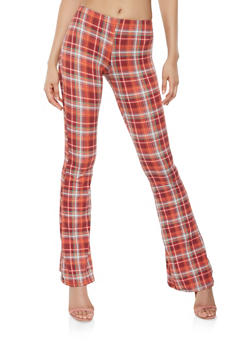 Plaid Soft Knit Flared Pants - 3061074015883