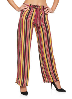 Striped Tie Front Palazzo Pants - 3061074015889