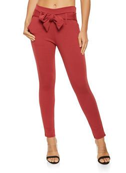 Tie Front Ponte Knit Pants - 3061074015893