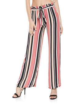 Striped Tie Front Palazzo Pants - 3061074015911