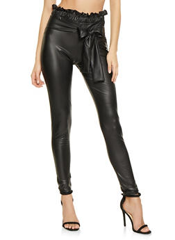 Faux Leather Paper Bag Waist Pants - 3061074015927