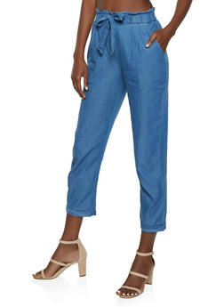 Chambray Tie Front Paper Bag Waist Pants - 3061074017059