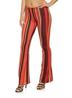 Printed Soft Knit Flared Pants - 3061074017875