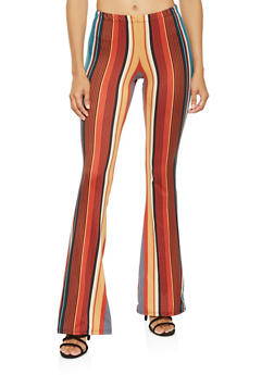Printed Soft Knit Flared Pants - 3061074017875