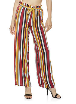 Striped Paper Bag Waist Palazzo Pants - 3061074018785