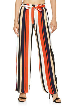 Striped Paper Bag Waist Palazzo Pants - 3061074018785