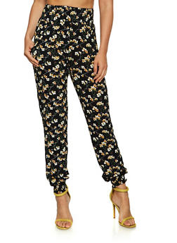 Smocked Floral Joggers - 3061074640025