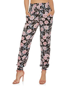 Smocked Waist Floral Joggers - 3061074645200