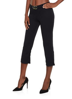 Double O Ring Detail Cropped Dress Pants - 3061075175012