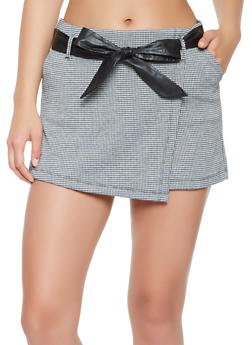 Houndstooth Pattern Knit Skort - 3062015995021