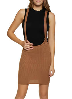 Ribbed Knit Suspender Skirt - 3062020624063