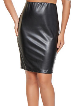 Faux Leather Pencil Skirt - 3062020624473