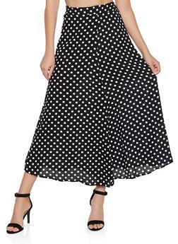 Polka Dot Skater Maxi Skirt - 3062020624476