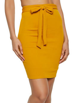 Tie Front Pencil Skirt - 3062020624582