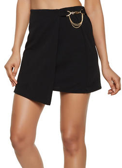Chain Detail Faux Wrap Mini Skirt - 3062020624772