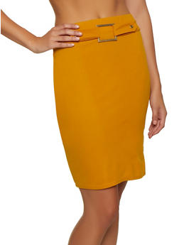 Buckle Detail Midi Pencil Skirt - 3062020624902