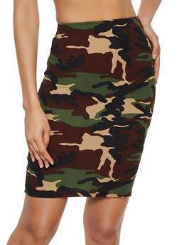 Camo Pencil Skirt - 3062020625856