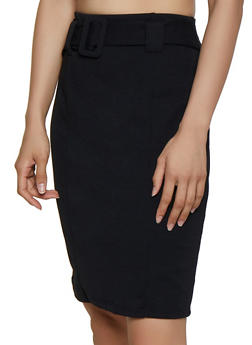 Belted Waist Pencil Skirt - 3062020626663