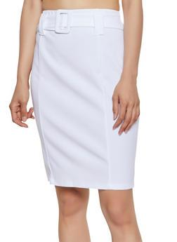 Belted Waist Pencil Skirt - 3062020626663