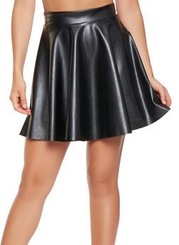 Faux Leather Skater Skirt - 3062020626882