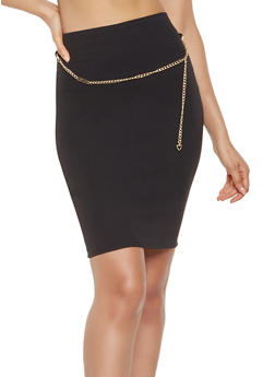 Crepe Knit Pencil Skirt - 3062020628522
