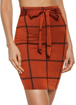 Tie Front Plaid Pencil Skirt | 3062020628589 - 3062020628589