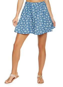Chambray Mini Skater Skirt - DENIM - 3062020628842
