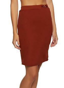 Crepe Metallic Detail Pencil Skirt - 3062020629037