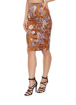 Paisley Print Midi Pencil Skirt - 3062020629395