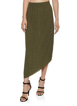 Pleated Asymmetrical Maxi Skirt - 3062038344910