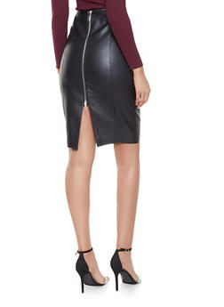 Faux Leather Midi Pencil Skirt - 3062051066414