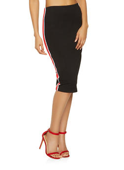 Side Stripe Ponte Pencil Skirt - 3062051066552