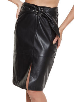 Belted Zip Back Faux Leather Pencil Skirt - 3062051066621