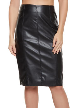 Faux Leather Midi Skirt - 3062051066658