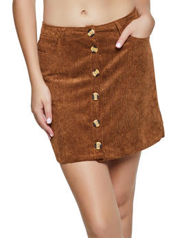 Button Front Mini Corduroy Skirt - 3062054267175