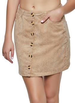 Button Front Mini Corduroy Skirt - KHAKI - 3062054267175