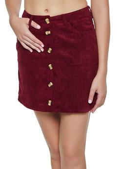 Button Front Mini Corduroy Skirt - BURGUNDY - 3062054267175