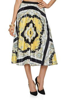 Printed Midi Skater Skirt - BLACK - 3062062120295