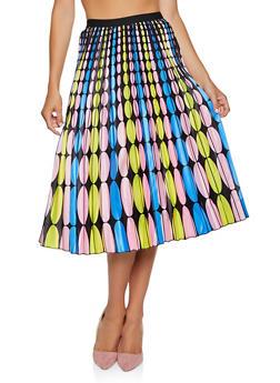 Printed Midi Skater Skirt - YELLOW - 3062062120295