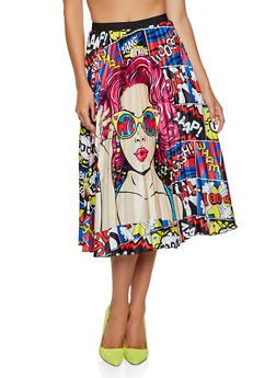 Printed Midi Skater Skirt - BLUE - 3062062120295
