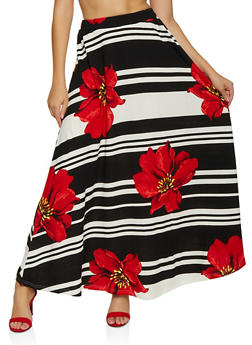 Floral Striped Maxi Skater Skirt - 3062062127980