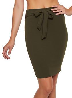 Crepe Knit Tie Front Pencil Skirt - 3062062411528