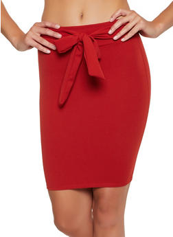 Crepe Knit Tie Front Pencil Skirt - 3062062411528