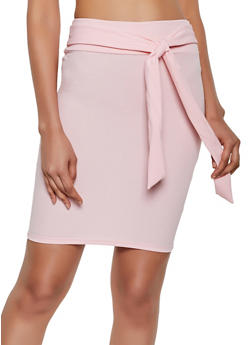 32ee1a76cb Crepe Knit Tie Front Pencil Skirt - 3062062411528