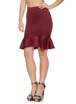 Ruffled Scuba High Low Skirt - 3062062411541