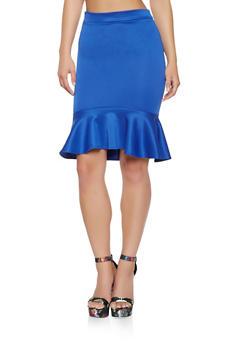 Ruffled Scuba High Low Skirt - 3062062411541