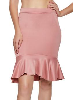 Scuba Knit Ruffled Pencil Skirt - 3062062415141